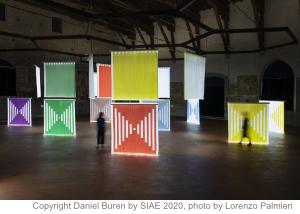 Daniel Buren, Illuminare lo spazio, lavori in situ e situati, Bergamo, GAMeC, Italy