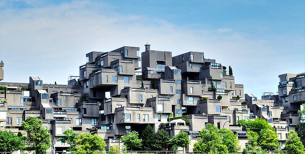 Habitat 67, Moshe Safdie with David, Barott, Boulva, Jacques David, Peter Barott, Pierre Boulva, Montreal