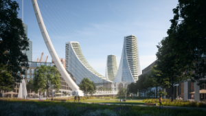 Santiago Calatrava, Peninsula Place, Knight Dragon, Greenwich Peninsula, London, UK, Thames