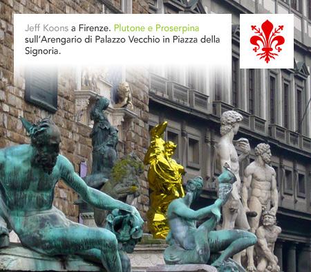 Pluto and Proserpina, Jeff Koons, Firenze, Florence, Piazza Signoria, Palazzo Vecchio