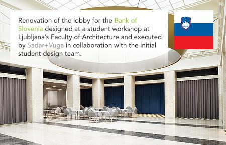 Sadar+Vuga, Seminar Jurij Sadar, Bank of Slovenia, Banka Slovenije, lobby, Ljubljana