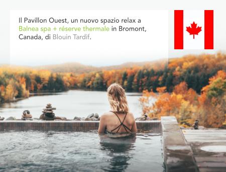 Blouin Tardif Architecture Environnement, Balnea spa, réserve thermale, Le pavillon Ouest, Bromont, Quebec, Canada